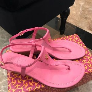 Tory Burch sandals wedge pink leather sz 9 1/2